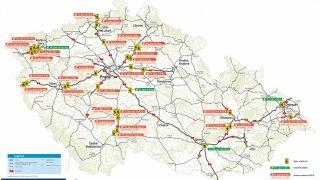 Mapa rozmístění dopravního značení STOP-PROTISMĚR