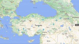 mapa Turecko cesta