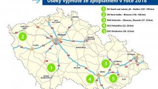 Mapa znepoplatněných úseků dálnic