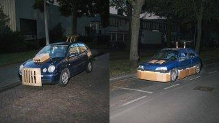 Tajemný fantom po nocích vylepšuje auta kartonem 1