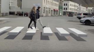Experimentální 3D přechod mate hlavu řidičům na Islandu