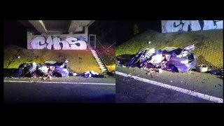Řidič se svým BMW vyletěl u Litoměřic z dálnice a narazil do mostu. Z auta zbyl jen šrot