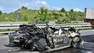 Řidič sešrotované toyoty nehodu nezpůsobil. Jen stál v koloně