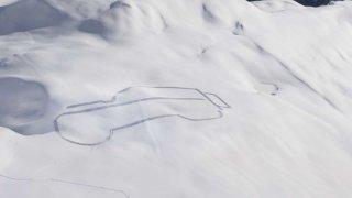 Kresba Land Roveru v Alpách