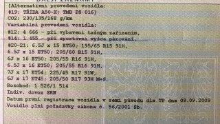 VTP s povolenými rozměry kol