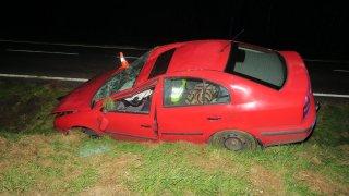 Důchodce za volantem bojoval s mouchou. Vyhrála, auto skončilo ve škarpě a muž v nemocnici