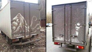 Umělec kreslí nádherné obrazy na špinavá auta 2