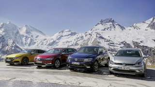 Zleva: VW Arteon, Passat Alltrack, Tiguan, Golf Al